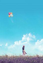 女の子フィールド飛行風船iPhone 8 Plus/Android壁紙