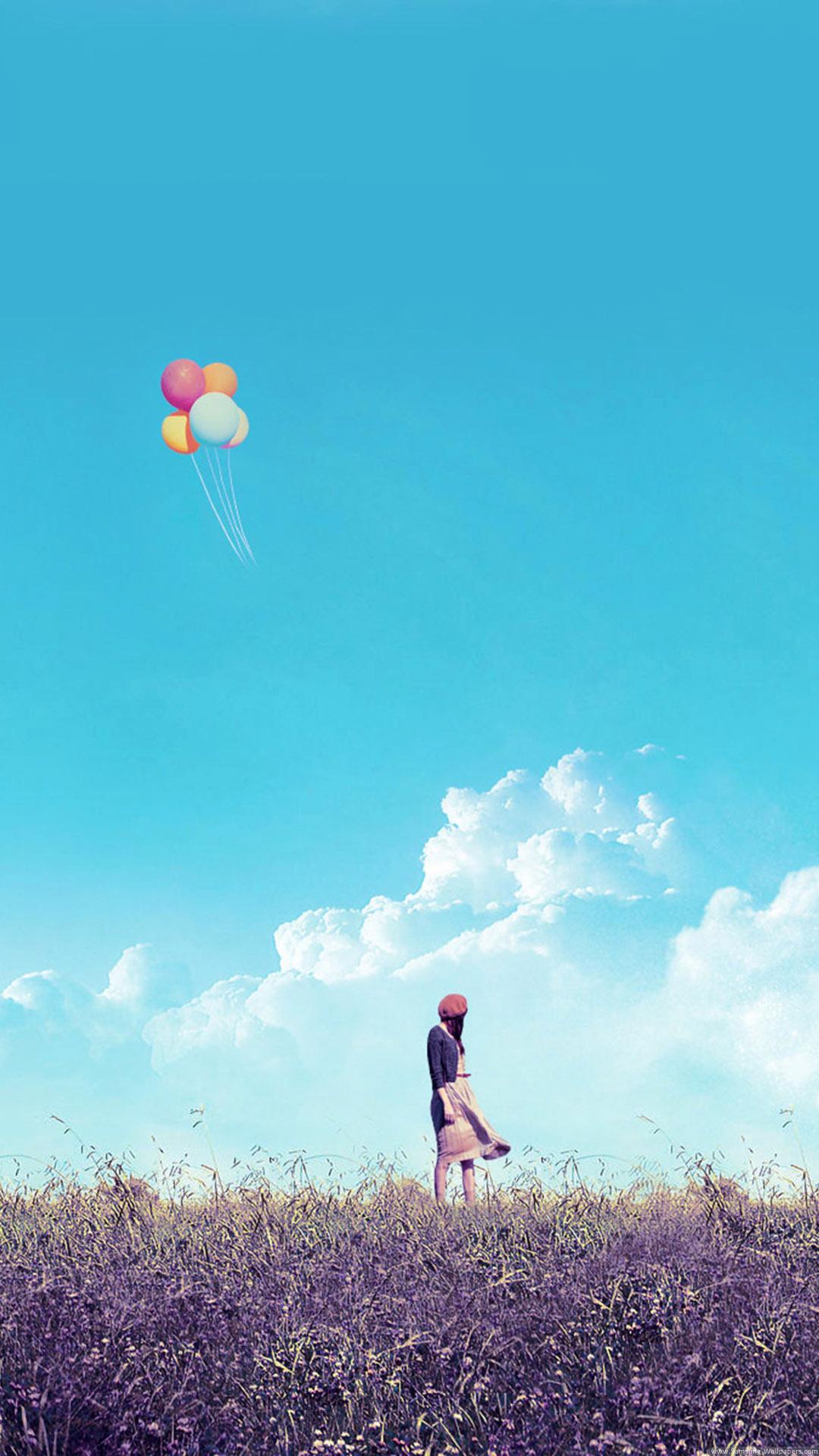 女の子フィールド飛行風船iphone 8 Plus Android壁紙 Iphoneチーズ