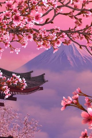 富士山とさくらiPhone 8/Android壁紙