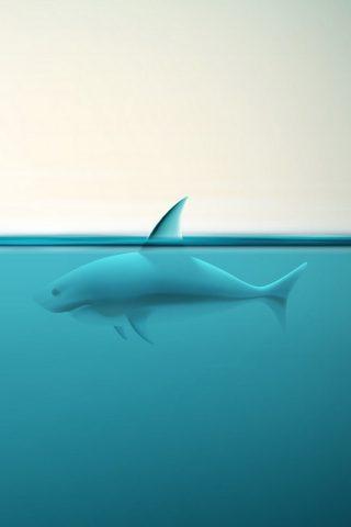 抽象的な海のサメiPhone 6/Android壁紙