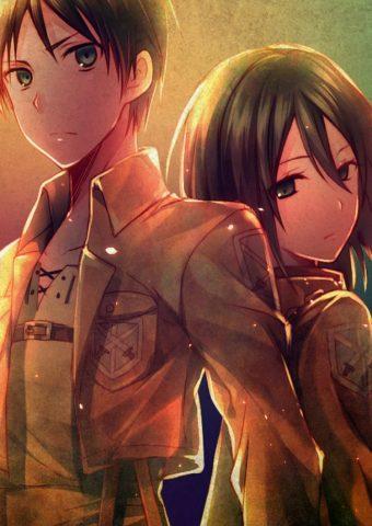進撃の巨人 エレン・イェーガー ミカサ・アッカーマンiPhone 8/Android壁紙