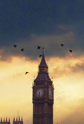 ビッグベンロンドンの夕焼けiPhone 7 Plus/Android壁紙