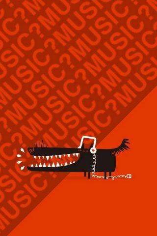 ヘッドフォン音楽とオオカミiPhone 6/Android壁紙