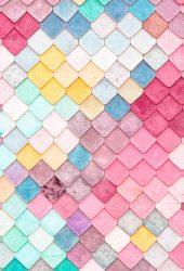 カラフルな屋根瓦パターンiPhone 8 Plus/Android壁紙