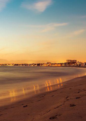ビーチ夏の夜の砂黄金の波iPhone 6 Plus/Android壁紙