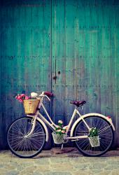 フラワーバスケット付き自転車iPhone/Android壁紙