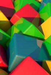 3DブロックブライトマルチカラーiPhone X/Android壁紙