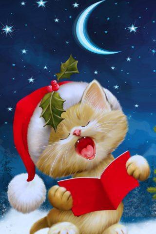 クリスマス猫iPhone 8 Plus/Android壁紙