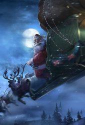 クリスマスサンタクロースそりイラストiPhone 8 Plus/Android壁紙