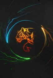 カラフルなタイガーライトアートiPhone 6/Android壁紙
