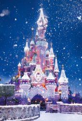 ディズニーキャッスルクリスマスライトスノーiPhone 8 Plus/Android壁紙