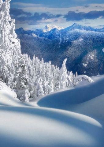 フェアリーテイルクリスマス雪風景iPhone 7 Plus/Android壁紙