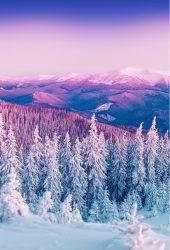 紫の冬の山の風景iPhone 6/Android壁紙