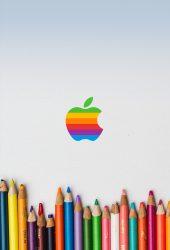 レインボーアップルパステルiPhone 6 Plus/Android壁紙