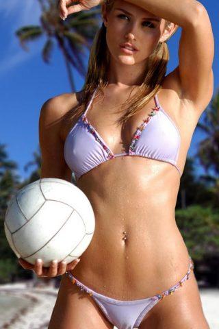 バレーボールのボールを持ってビキニの女の子iPhone 6/Android壁紙