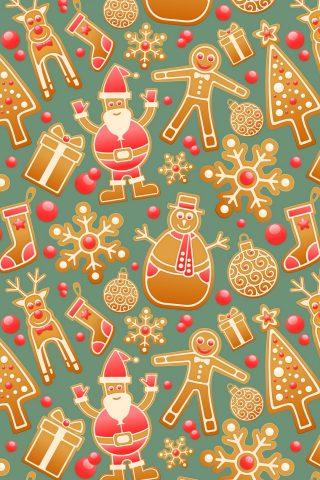 クリスマスジンジャーブレッド雪だるまサンタクローステクスチャ無料壁紙