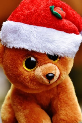 クリスマスのおもちゃテディベアスマホ壁紙