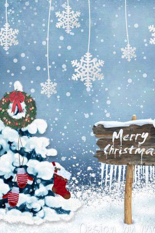 新年のクリスマスカード雪片の装飾品無料壁紙