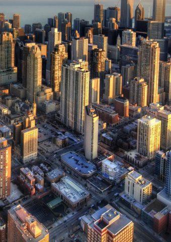 シカゴ空撮夕日のスマホ壁紙