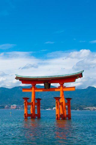 厳島神社島スマホ壁紙