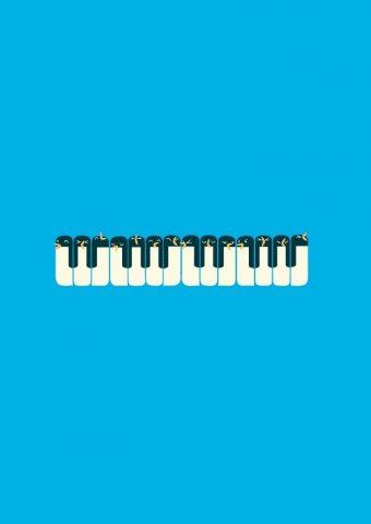 ペンギンピアノミニマルイラストiPhone 6壁紙