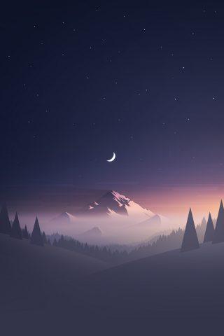 星と月の冬の山の風景のスマホ壁紙