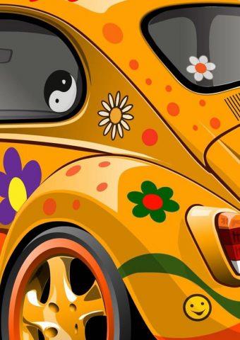 フォルクスワーゲンビートルカーフラワーデザイン iPhone XR 壁紙
