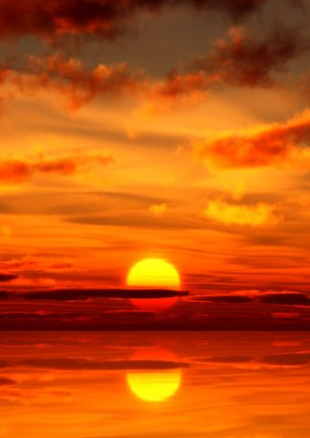 美しい夕日と反射壁紙