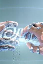 未来派デザイン手サイボーグ腕時計壁紙