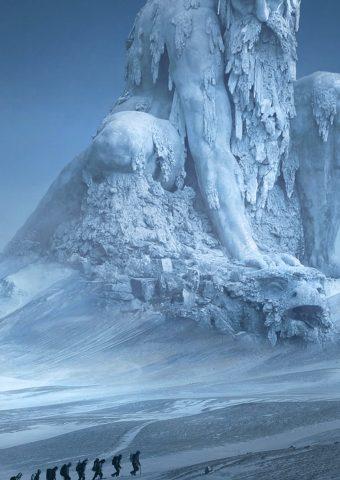 雪の中をハイキングモバイル壁紙