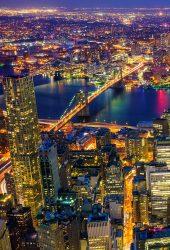 夜のニューヨーク市iPhone X壁紙