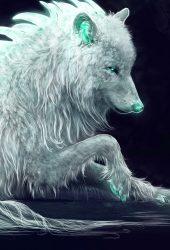 ファンタジー白狼の壁紙