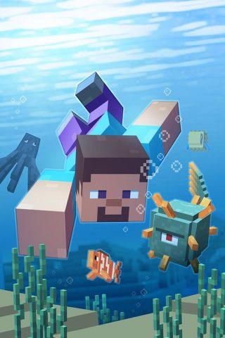 Minecraft (マインクラフト) 水生のiPhone壁紙