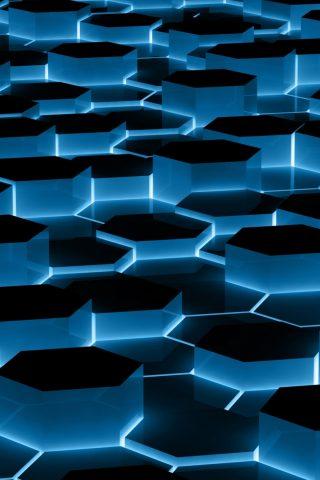 青い六角形パターンのスマホ壁紙